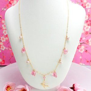 Japanese pink cherry blossom 14k gold necklace